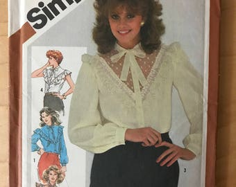 Simplicity 5303 - 1980s Button Front Blouse with Optional Sheer Lace V Inset and Ruffle Trim - Size 18 20 Bust 40 42