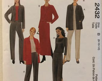 McCalls 2432 - Stretch Knit Unlined Jacket with Notched Collar, Top with Bateau Neckline, Pull On Pants, and Maxi Skirt  - Size 8 10 12