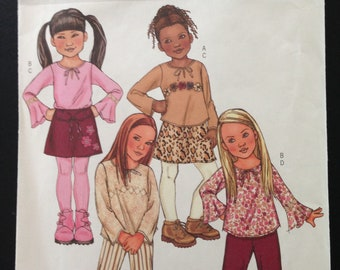 Butterick B4277 - Girl's op with Flared Sleeves, A-Line Skirt, Pants, and Belt - Size 6 7 8