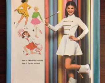 Simplicity 9156 - 1970s Girl's Cheerleader, Majorette, Skating, and Ballet Costumes - Size 10 Breast 28.5