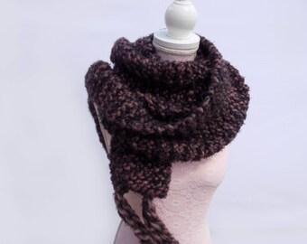 Scarf wool & mohair purple plum soft handknitted wool mohair Scarf knitting pattern