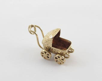 Baby Carriage Stroller Charm 14k Yellow Gold Pendant Moveable