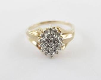 10k Yellow Gold Women's Diamond Ring - 10k Yellow Gold diamond Cocktail Ring Size 8