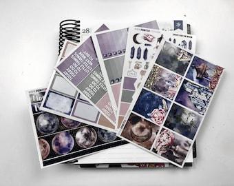 FOILED Moon Full Planner Sticker Kit, 6 Sheets