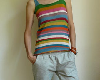 cotton tank  top , striped,  colorful, shoulder straps