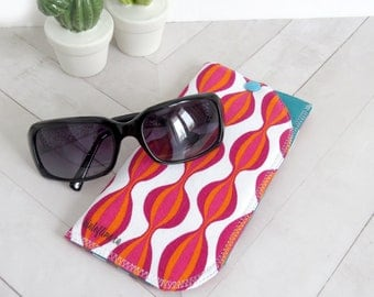 Padded Sunglasses Case - Pink/Orange Bubble-Waves // Soft Snap Pouch // Eyewear Holder