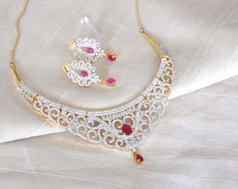 Gold plated cubic zirconia Indian necklace set with ruby stones in a silver rhodium finish | Indian Jewelry set perfect for Indian weddings