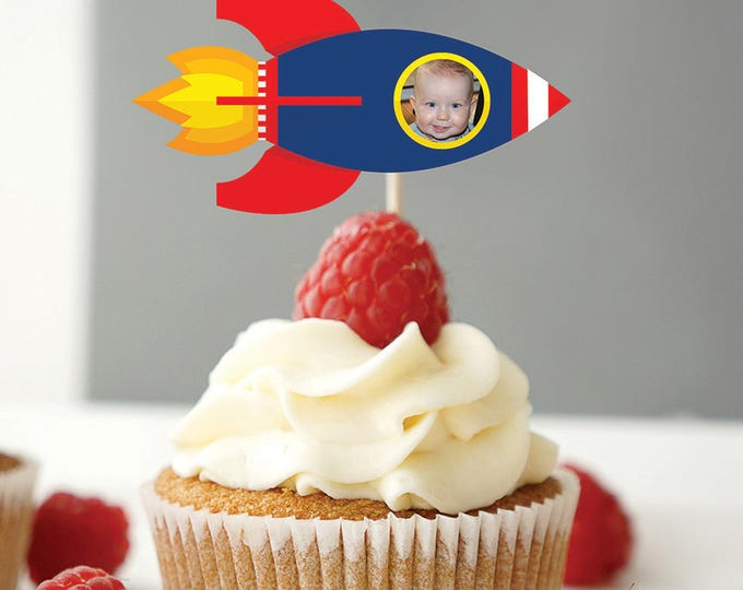 Rocket ship cupcake topper, Outer Space birthday, Solar System, Solar System Birthday Party, Planet, rocket, Space