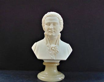 Mozart Bust Arnaldo Giannellli Small Alabaster Carving Marble Base Vintage Signed Tuscan Italian Sculpture Art Collectables