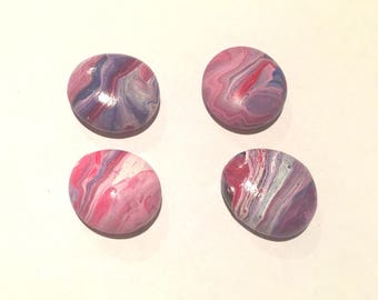 Patriotic Red White & Blue Glass Flat Marble Magnets Hand Painted Fluid Acrylic Pour Swirl
