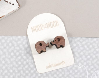 Wooden ELEPHANTS earrings, American Walnut wood and sterling silver studs, Laser cut jewelry, animal wooden earrings, Mother's Day gift