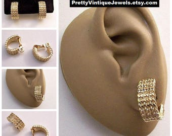 Monet Curb Chain Link Half Hoop Clip On Earrings Gold Tone Vintage Patd 1960s Curved Wide Band Comfort Paddles