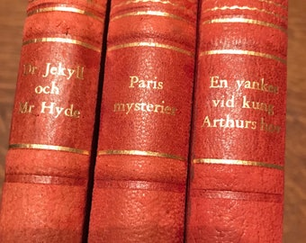 Set of 3 Swedish Antique Books: Dr. Jekyll and Mr. Hyde, Paris Mystery, & A Yankee/King Arthur