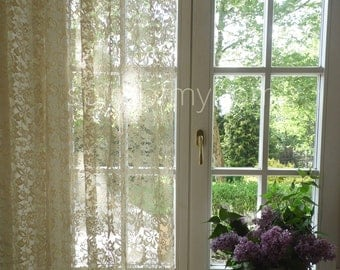 """OLGA' Cream Color French Net Lace Curtain Panel Width 75"""" by Lenght 86"""" or W190cm x L218cm by Panel"""