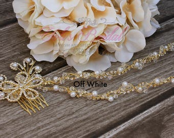 Fast Shipping!!!  Silver or Gold Crystal and Pearl Hair Vine, Bridal Hair Vine, Wedding Hair Comb, Bridal Headband, AB Bridal Hair Vine