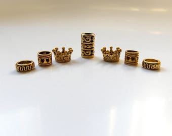 Gold Crown, loc Jewelry, Hair Beads, Metal Dreadlock Beads, Dreadlocks, Jewelry For Locs, Braids Twists Rings, Hair Accessories