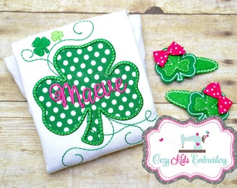 St. Patrick's Day Shirt, St Patty Shirt, Girls Saint Patrick's Day Shirt, Clover Shirt, Clover Applique, Monogram, Embroidery
