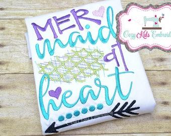 Mermaid Shirt, Summer Shirt, Vacation Shirt, Custom Girl Shirt, Girl Shirt, Mermaid At Heart Embroidery, Monogram Shirt