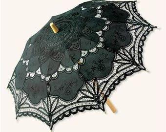 Victorian Parasol Umbrella With Bamboo Handle - Black Battenburg Lace