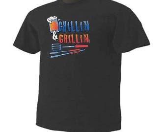 CHILLIN & GRILLIN Beer Drinking Grilling Summer T-Shirt