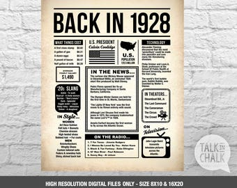Back In 1928 Newspaper-Style DIGITAL Poster - 90th Birthday PRINTABLE Sign - 90th Birthday Poster - 90th Birthday Gift Ideas