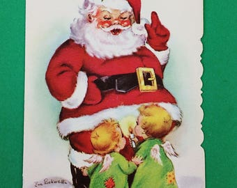Vintage Eve Rockwell Cheerie Dearies Santa Claus & Angels UNUSED Christmas Card--Free Shipping