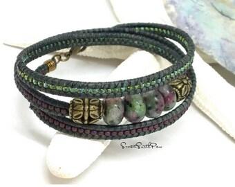 Wrap Bracelet, Beaded Wrap, Leather Wrap, Triple Wrap Bracelet, Boho Bracelet, Beaded Leather Wrap, Bohemian Wrap, Gemstone Wrap, Seed Bead