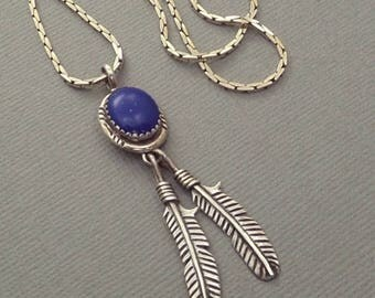 Vintage NATIVE American Indian Jewelry, Navajo Sterling Necklace, LAPIS Lazuli Gemstone, Feather Leaf Charms 925 Chain, Gift for Her