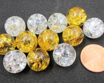 Vintage Crackle Ice Marbles - Cracked Glass Marbles - Shattered Glass Marbles -  Fried Marbles - 1960s Craft Supply - 12 Marbles