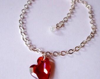 Red Swarovski crystal heart bracelet Sterling Silver - red or black heart