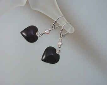 Dark Cherry Baltic Amber & Freshwater Pearl Earrings - Leverback Heart Dangle Earrings - Sterling Silver Jewelry