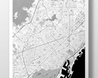 Barcelona Map Poster - B&W