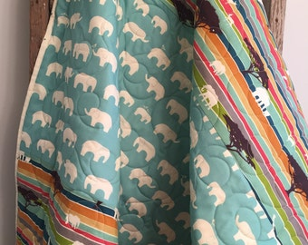 Organic elephant baby quilt, safari crib bedding, elephant safari nursery, zoo animals,  giraffe antelope birds, red blue green orange