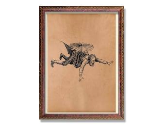 Flying man art print Steampunk poster Vintage decor