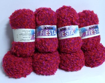 Patons Yarn Fiesta of Color! Bright 2-Tone Cherry Red Chunky Yarn Destash, Soft Thick Twisted Textured Acrylic Yarn Perfect for Handknitting
