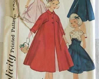 Vintage Pattern Girl's Formal Dress and Coat