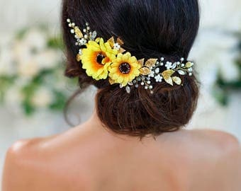Sunflower flower crown Sunflower headpiece Yellow flower crown Sunflower wedding Fall floral crown Fall wedding Yellow bridal headpiece