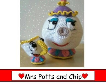 Disney Inspired 'Mrs Potts & Chip' - Crochet Pattern Only