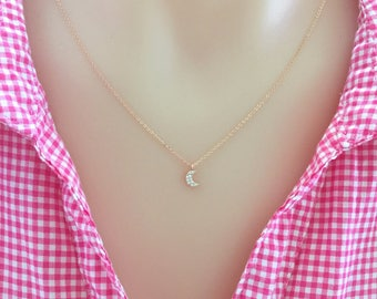 Tiny Rose Gold Crescent Moon Necklace, Dainty Necklace, Choker Necklace, Sister Necklace, Bridesmaid Gift, Cubic Zirconia, Moon Necklace