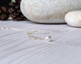Tiny silver nugget necklace. Minimalist bead necklace. Delicate everyday necklace. Minimal nugget necklace. Gifts for her