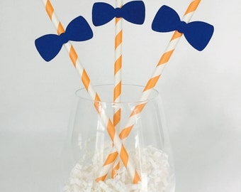 12 Bow Tie Party Straws - Baby Shower - New Baby - It's a Boy - Boy Birthday - Bow Tie Birthday - Baby Sprinkle