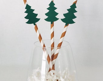 12 Pine Tree Party Straws - Woodland Baby Shower - Camping Theme Party - Christmas - Forest - Birthday Party