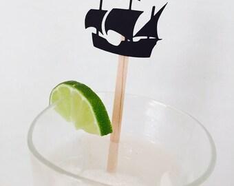 15 Pirate Ship Swizzle Sticks - Drink Stir Sticks - Ahoy Matey - Pirate Party - Birthday Party - Boy - Gasparilla