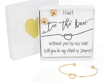 Tie The Knot / Maid of Honor Gift / Bracelet Earring Set/ Bridesmaid Gift Jewelry / Will You Be My / Matron of Honor Bridal Party Gifts