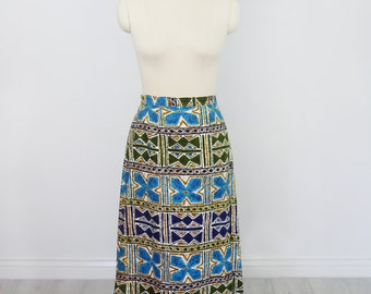 Vintage 1960's Hawaiian Barkcloth Maxi Skirt