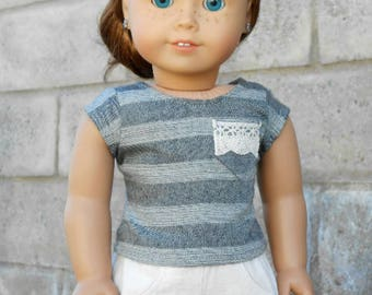 Gray Striped Tee w/ Lace Pocket for American Girl Dolls