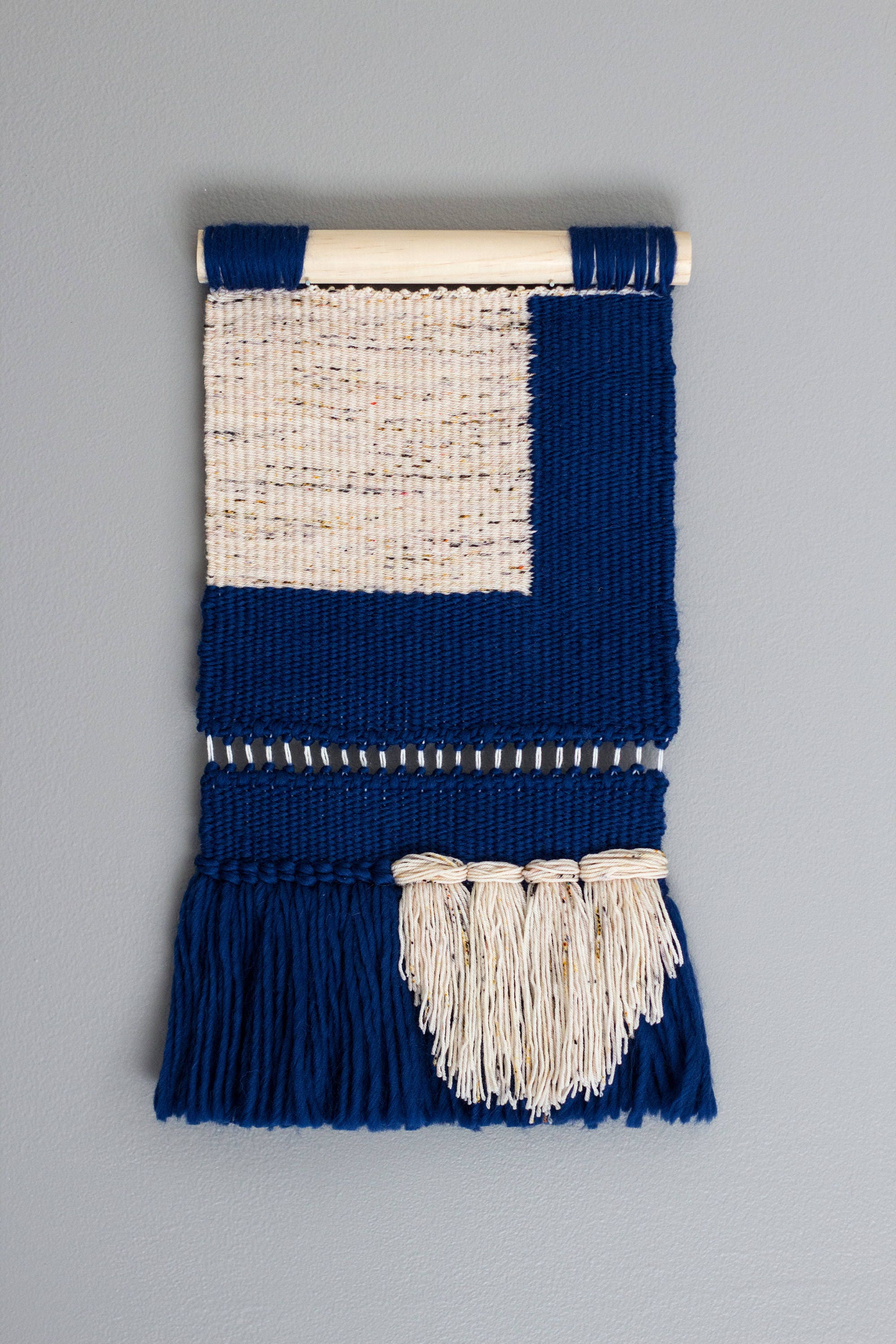 Woven Wall Hanging Modern Tapestry Blue Color Block