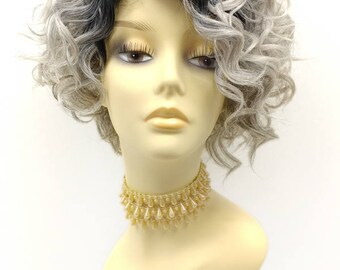 Light Silver Gray with Light Brownish Gray Ends Dark Roots Short Curly Side Part Wig. Lace Front Heat Resistant Wig. [62-327B-Mary-TT/6048]