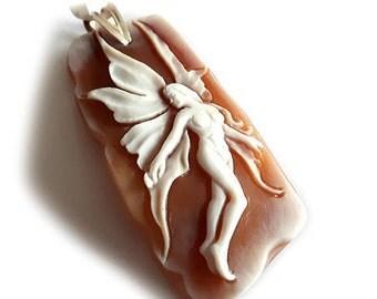Fairy shell cameo pendant italian cameo jewelry donadio cameos shell jewellery pendentif camée colgante camafeo カメオペンダント Камея подвеска