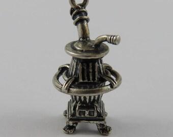 Pot Belly Stove Sterling Silver Vintage Charm For Bracelet